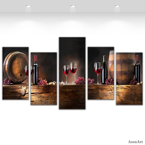 Wine Lovers 5 Piece Canvas Wall Art-High Quality ->> 50% OFF-Painting & Calligraphy-My Favorite Online Store