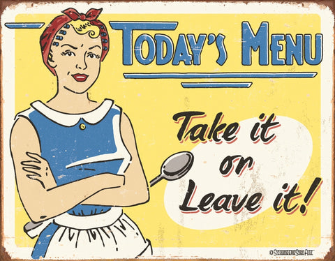 Todays Menu Tin Sign