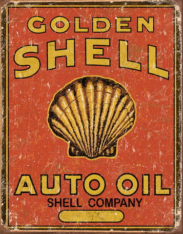 Golden Shell Auto Oil Tin Sign