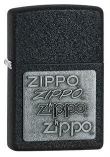 Zippo Black Crackle Emblem Lighter - Nalno.com Outdoor Equipment