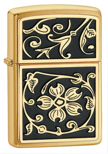 Zippo Gold Floral Flourish Lighter - Nalno.com Outdoor Equipment