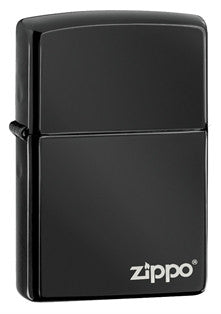 Zippo Classic Ebony w Logo Lighter - Nalno.com Outdoor Equipment