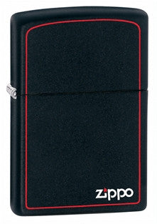 Zippo Classic Black Matte Red Border Lighter - Nalno.com Outdoor Equipment