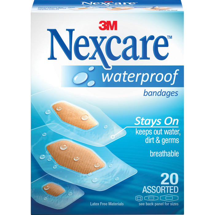 3M Nexcare Waterproof Bandages (asst 20 pack)