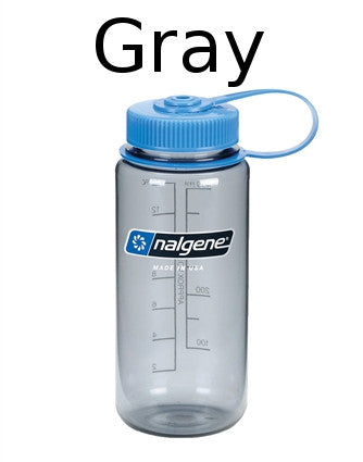 Nalgene 500ml Wide Mouth Gray with Blue Cap Water Bottle