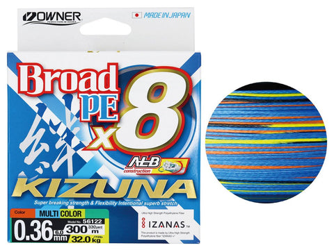 Owner Kizuna Broad PE X8 Braided Line Multi-Colour 300m