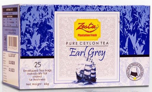 Zesta Earl Grey Ceylon Black Tea, 25 Count Tea Bags