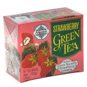 Mlesna Strawberry Green Tea, 50 Count Tea Bags