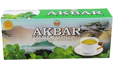 Akbar Green Tea with Mint, 100 Count Tea Bags