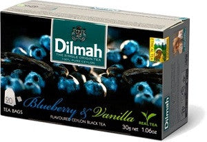 Dilmah Blueberry And Vanilla Flavoured Ceylon Black Tea, 20 Count Tea Bags