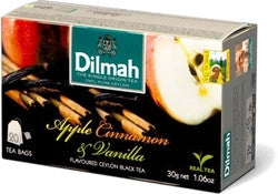 Dilmah Apple Cinnamon And Vanilla Flavoured Ceylon Black Tea, 20 Count Tea Bags