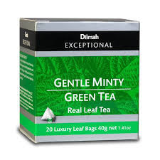 Dilmah Exceptional Gently Minty Green Tea, 20 Count Tea Bags
