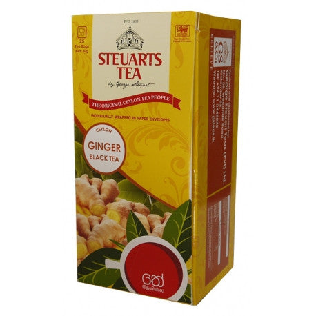 Steuarts Ginger Flavoured Ceylon Black Tea, 25 Count Tea Bags