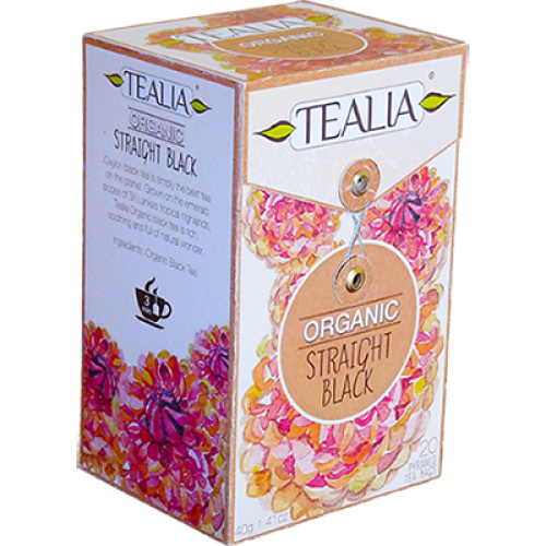 Tealia Organic Straight Black Tea, 20 Count Tea Bags
