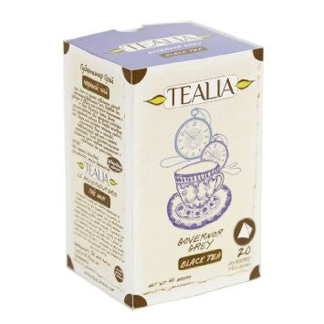 Tealia Govenor Grey Tea, 20 Count Tea Bags