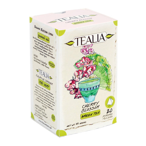 Tealia Cherry Blossom Green Tea, 20 Count Tea Bags