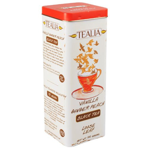 Tealia Vanilla Ginger Peach Ceylon Black Tea, Loose Tea 100g