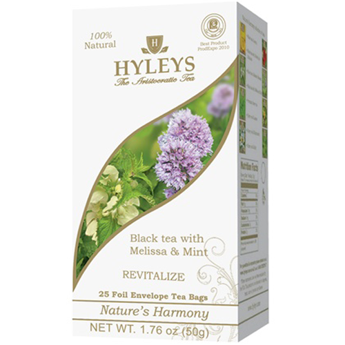Hyleys Black Tea With Melissa And Mint, 25 Count Tea Bags