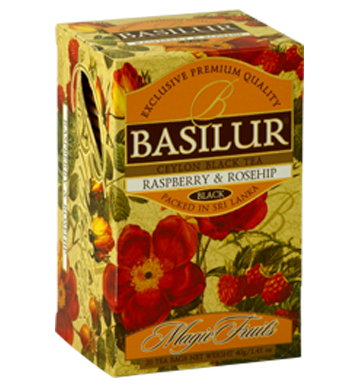 Basilur Magic Fruits Raspberry and Rosehip Flavoured Ceylon Tea, 20 Count Tea Bags