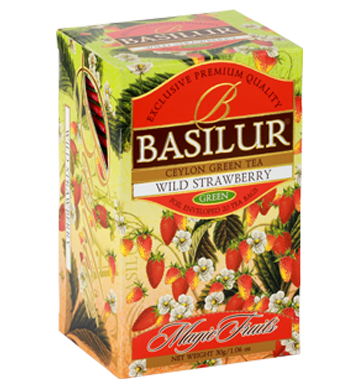 Basilur Magic Fruits Wild Strawberry Flavoured Ceylon Green Tea, 20 Count Tea Bags
