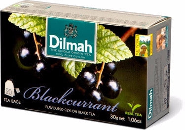 Dilmah Blackcurrant Flavoured Ceylon Black Tea, 20 Count Tea Bags