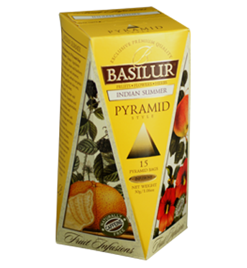 Basilur Fruit Infusions Indian Summer, 15 Count Pyramid Tea Bags