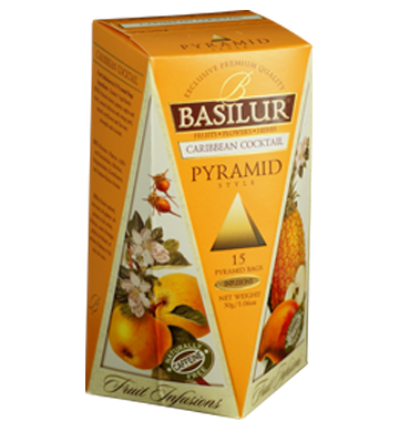 Basilur Fruit Infusions Caribbean Cocktail, 15 Count Pyramid Tea Bags