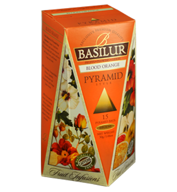 Basilur Fruit Infusions Blood Orange, 15 Count Pyramid Tea Bags