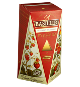 Basilur Fruit Infusions Strawberry And Raspberry, 15 Count Pyramid Tea Bags