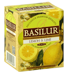 Basilur Magic Fruits Lemon and Lime Flavoured Ceylon Tea, 10 Count Tea Bags