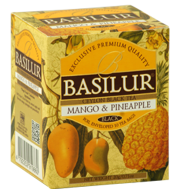 Basilur Magic Fruits Mango and Pineapple Flavoured Ceylon Tea, 10 Count Tea Bags