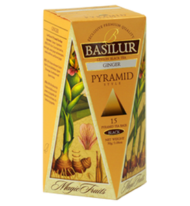 Basilur Magic Fruits Ginger, 15 Count Pyramid Tea Bags