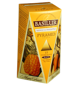 Basilur Magic Fruits Mango And Pineapple, 15 Count Pyramid Tea Bags