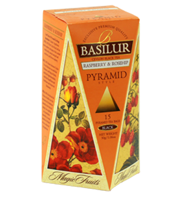 Basilur Magic Fruits Raspberry And Rosehip, 15 Count Pyramid Tea Bags