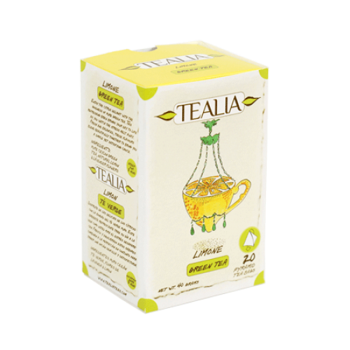 Tealia Limone Green Tea, 20 Count Tea Bags
