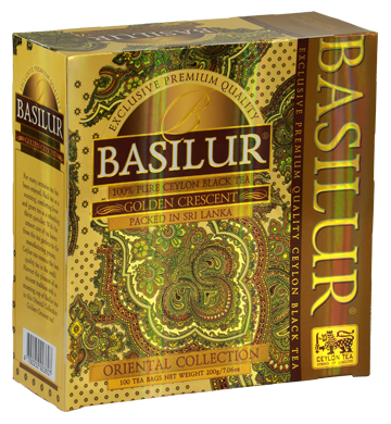 Basilur Oriental Golden Crescent Tea, 100 Count Tea Bags