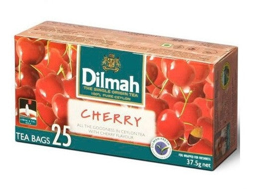 Dilmah Cherry Flavoured Ceylon Black Tea, 25 Count Tea Bags
