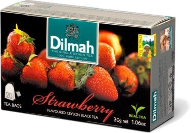 Dilmah Strawberry Flavoured Ceylon Black Tea, 20 Count Tea Bags