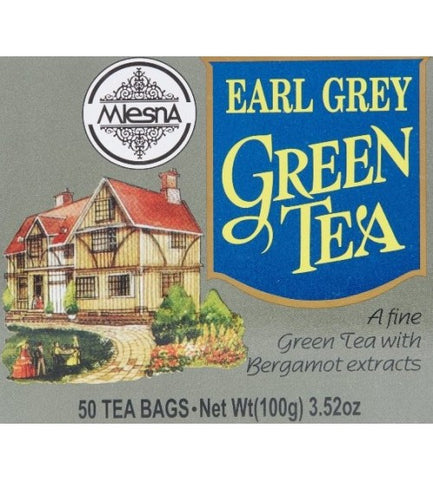 Mlesna Earl Grey Green Tea, 50 Count Tea Bags