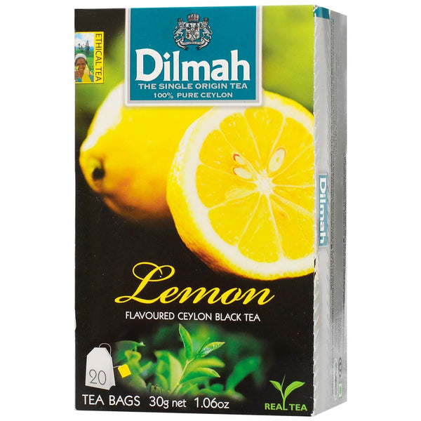 Dilmah Lemon Flavoured Ceylon Black Tea, 20 Count Tea Bags