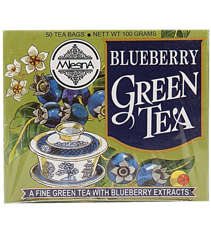 Mlesna Blueberry Green Tea, 50 Count Tea Bags