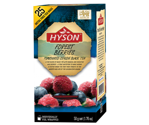 Hyson Forest Berries Flavoured Ceylon Black Tea, 25 Count Tea Bags