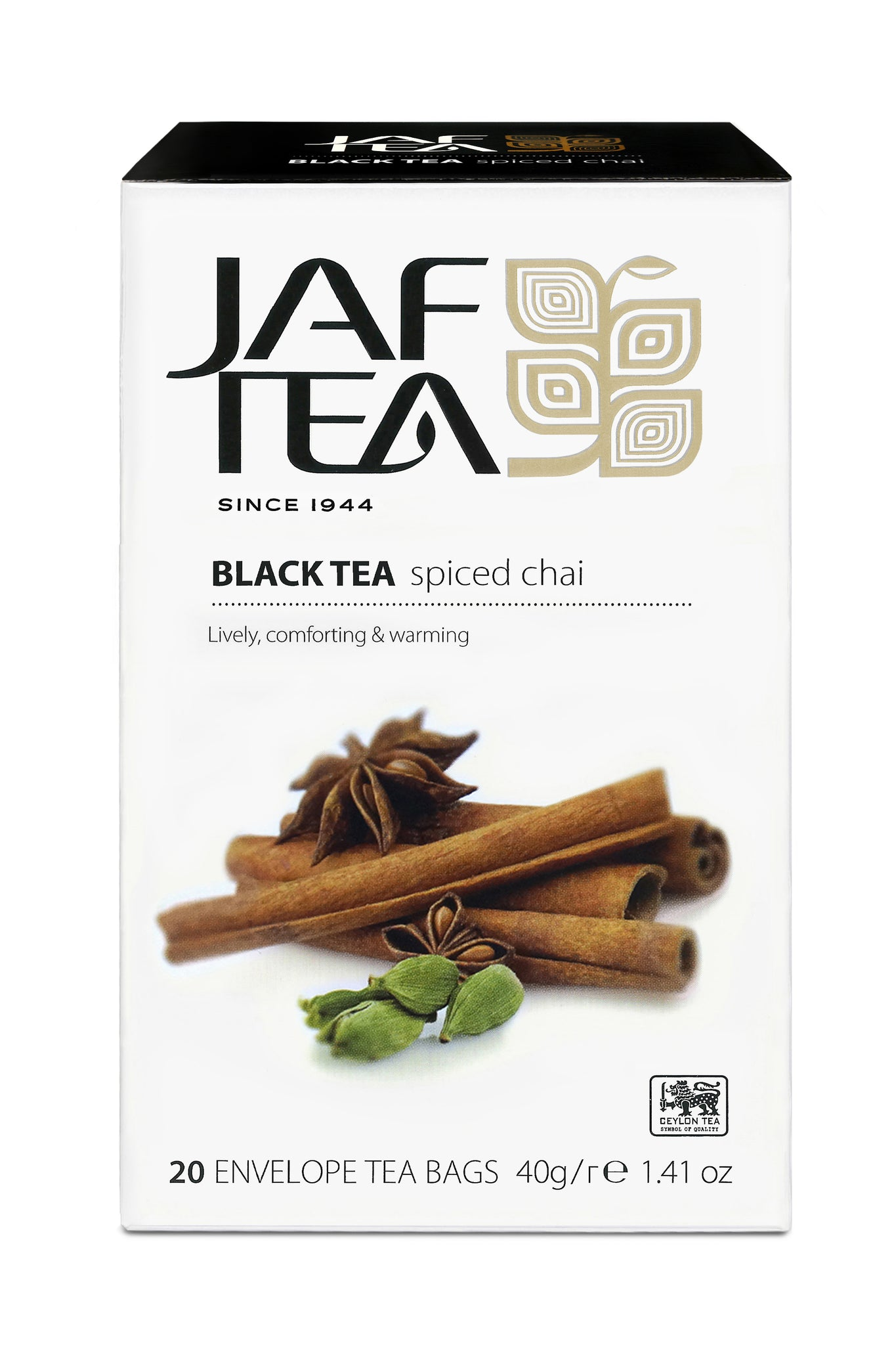 Jaf Spiced Chai Ceylon Black Tea, 20 Count Tea Bags
