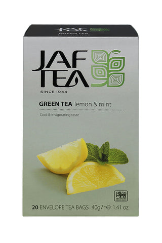 Jaf Lemon And Mint Flavoured Ceylon Green Tea, 20 Count Tea Bags