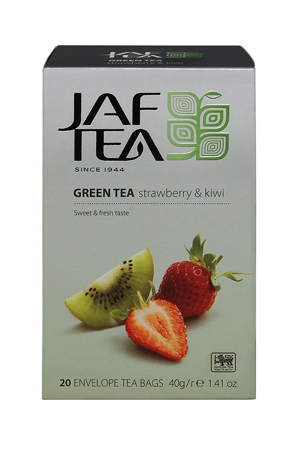 Jaf Strawberry And Kiwi Flavoured Ceylon Green Tea, 20 Count Tea Bags