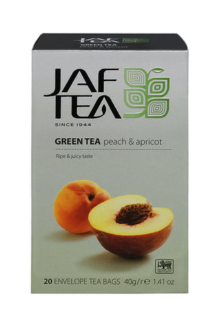 Jaf Peach And Apricot Flavoured Ceylon Green Tea, 20 Count Tea Bags