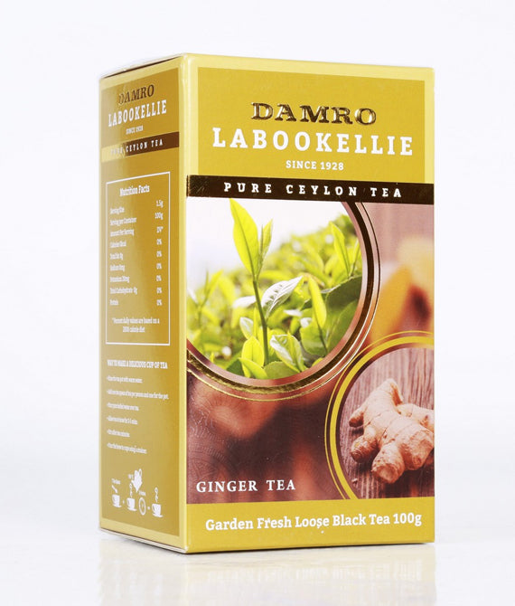 Damro Labookellie Ginger Flavoured Pure Ceylon Black Tea, Loose Tea 100g