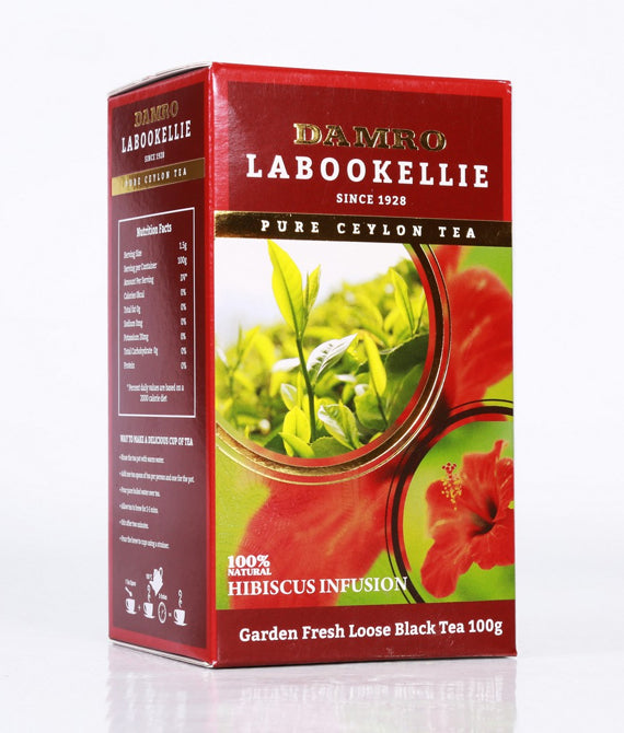 Damro Labookellie Hibiscus Infusion Pure Ceylon Black Tea, Loose Tea 100g