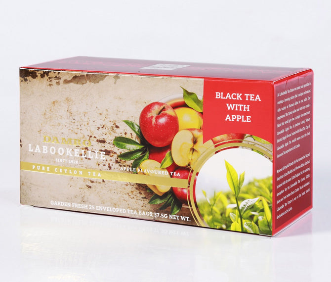 Damro Labookellie Apple Flavoured Pure Ceylon Black Tea, 25 Count Tea Bags