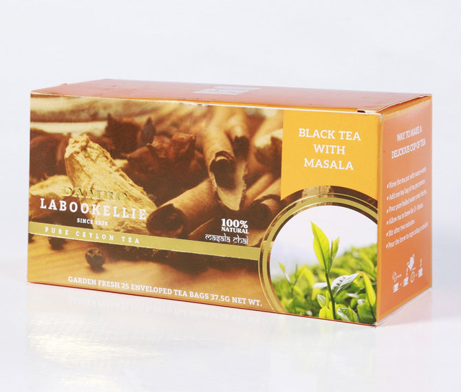 Damro Labookellie Masala Chai Flavoured Pure Ceylon Black Tea, 25 Count Tea Bags